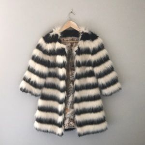 Jackets & Blazers - Faux Fur Black and White Striped Coat